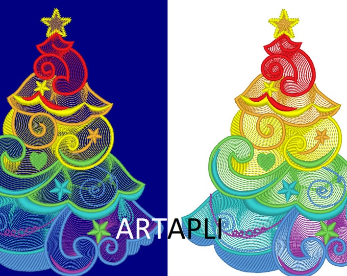 Rainbow Christmas tree embroidery designs  - 4x4, 5x7, 6x10  INSTANT DOWNLOAD