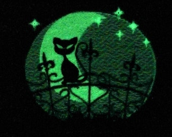 Night cat glow in the dark special machine embroidery designs INSTANT DOWNLOAD magic fairytale spooky kitty cat animal in starry night moon