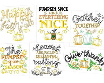 Happy fall Autumn Thanksgiving Kitchen dish towel quotes sayings kitchen towel machine embroidery designs - 4x4, 5x7  INSTANT DOWNLOAD