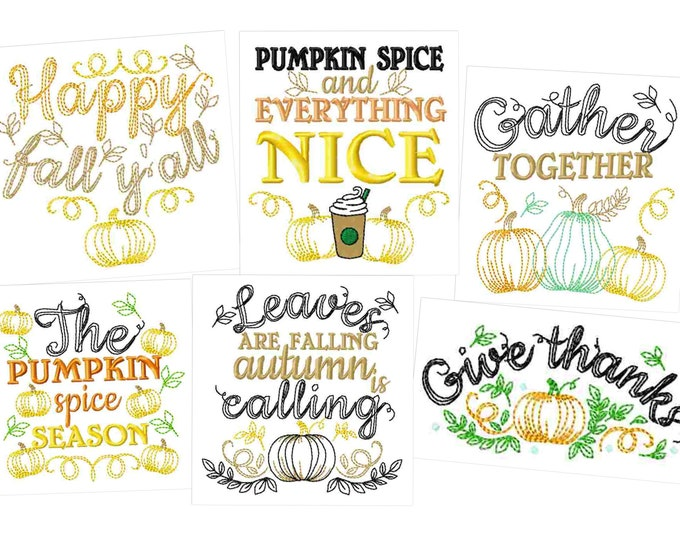 Happy fall Autumn Thanksgiving Kitchen dish towel quotes - machine embroidery designs - 4x4, 5x7  INSTANT DOWNLOAD