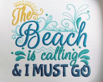 The beach is calling and I must go design 4x4 5x7 6x10  mermaid thing, summer, beach embroidery, summer vacation, mermaid embroidery,