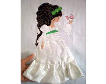 Lovely Doll - machine embroidery fill stitch and applique designs INSTANT DOWNLOAD  multiple sizes for hoop 4x4, 5x7 and 6x10