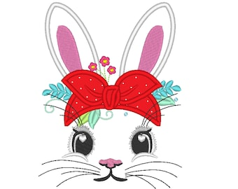 Easter Bunny face with heifer bandanna with little polka dot hearts, bunny ears applique, bunny face machine embroidery designs 4x4 5x7 6x10