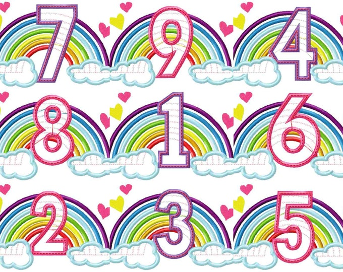 Cute Rainbow Birthday Numbers machine embroidery applique designs size 5, 6, 7 inches, rainbow in clouds numbers from 1-9 INSTANT DOWNLOAD