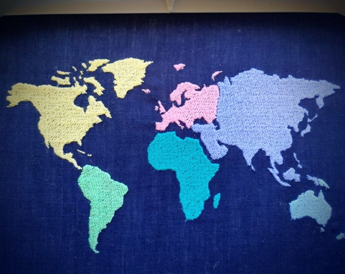 Colored Wanderlust World Map with separeate machine embroidery fill stitch designs, globe - assorted sizes for hoops 4x4 and 5x7 and 6x10