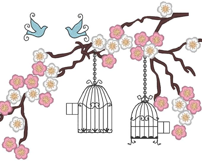Cherry Blossom, Birds and cages embroidery for embroidery hoop 5x7  INSTANT DOWNLOAD