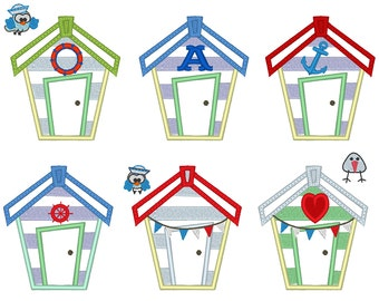 Beach Houses set, 6 little different types and birds small addons machine embroidery applique designs INSTANT DOWNLOAD summer guest house