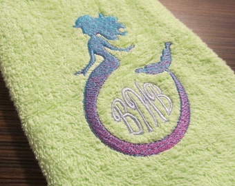 Iridescent 2 Color Mermaid circle Monogram Frame and new circle Font Embroidery designs 4x4 5x7 No special thread required