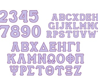 English alphabet and numbers with Greek sororities whole alphabet classic SATIN applique applique font BIG SET assorted sizes
