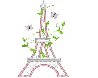 Romantic Eiffel tower - Paris - machine embroidery applique designs - for hoop 4x4 and 5x7 INSTANT DOWNLOAD