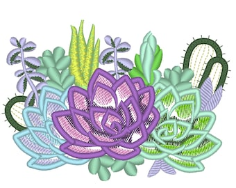Succulents and cactus Succulent flowers floral bouquet applique machine embroidery designs 4, 5, 6, 7in succulent plant INSTANT DOWNLOAD