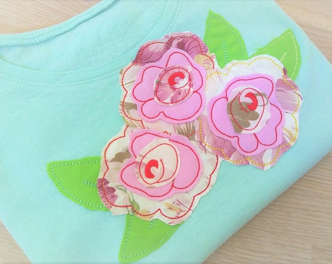 Shabby chic rose flower applique, rose, simply roses bouqet, roses applique design, raggedy edge rose applique embroidery INSTANT DOWNLOAD