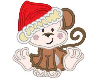 Little Christmas Monkey  - machine embroidery applique designs - for hoop 4x4, 5x7 INSTANT DOWNLOAD