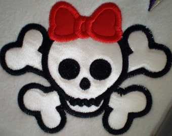Simple skull and crossbones BOY and GIRL - INSTANT download - machine embroidery applique designs -3, 4, 5 and 6 inches