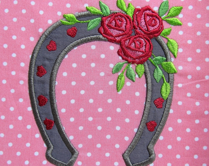Cowgirl Horseshoe with roses applique embroidery designs multiple sizes