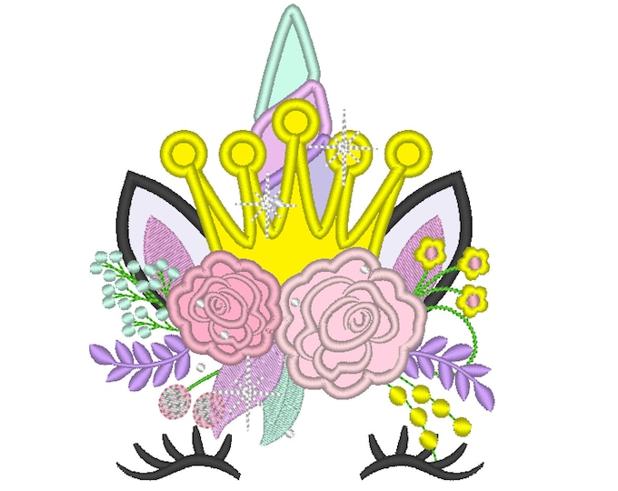 Sparkling Birthday crown Unicorn with roses crown applique machine embroidery designs applique Rainbow unicorn embroidery unicorn face