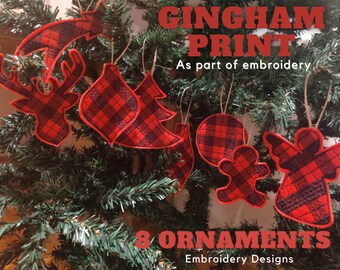Tartan Plaid Gingham Christmas ornaments decoration Christmas tree 6 designs set hoop 4x4 5x7 8x8  instructions ITH felt easy project