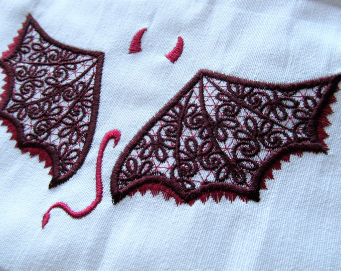 Devil wings Curly and lace - hoops 4x4 and 5x7 NSTANT DOWNLOAD