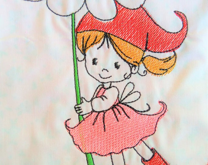 Little girl gnome with flower redwork sketch outline baby nursery embroidery design quick stitch embroidery designs 4x4, 5x7