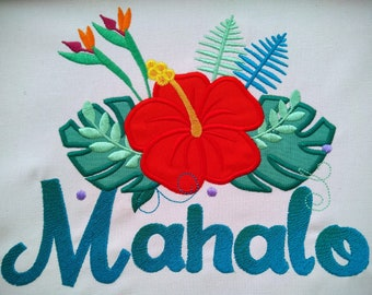 Tropical flowers big leaves hibiscus flower flowers crown machine embroidery applique Summer floral embroidery designs