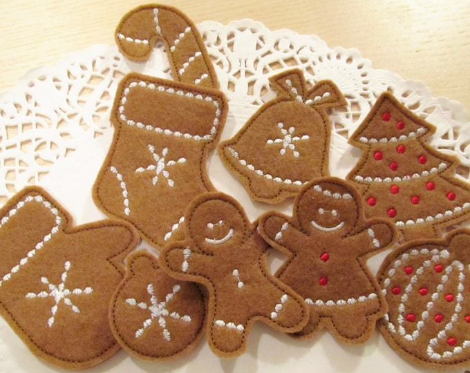 Ginger man, Ginger-breads, Christmas Gingerbread in-the-hoop project feltie - machine embroider designs - ITH (in the hoop)