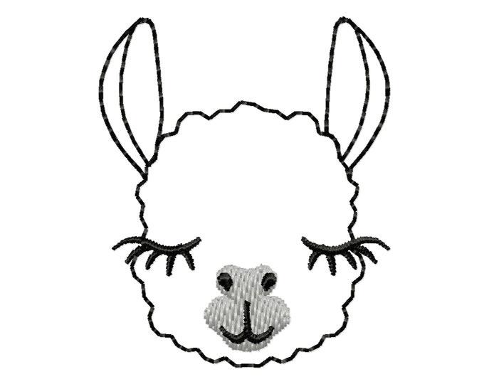 MINI Llama face Llama outline feltie small vinyl embroidery design rainbow machine embroidery designs 1.5, 2, 2.5 and 3 inches
