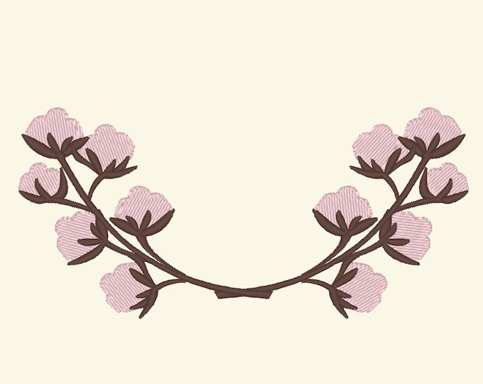 Cotton Branches wreaths  - INSTANT DOWNLOAD machine embroidery fill stitch designs - assorted sizes for hoops 4x4 and 5x7