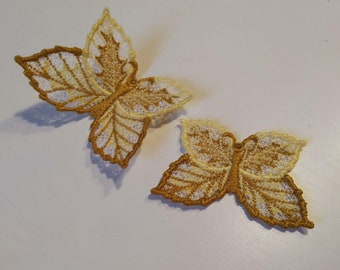 Autumn leaves Butterfly Dimensional,  FSL, Free standing lace embroidery design in the hoop ITH embroidery 4x4 assorted sizes