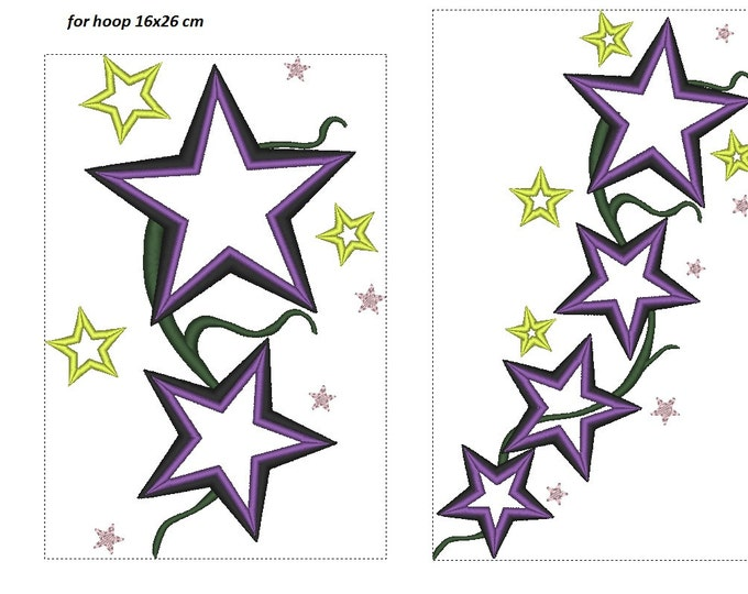 Cute stars set - machine embroidery applique designs INSTANT DOWNLOAD - hoops 4x4, 5x7 and 6x10