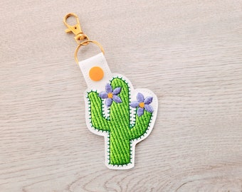 Cactus key fob in the hoop machine embroidery design ITH project, cactus key fobs, key fob key tab keychain in the hoop floral flower cactus