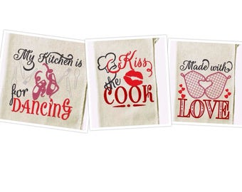 Tea towels kitchen cute quotes - machine embroidery designs - 4x4 and 5x5 INSTANT DOWNLOAD