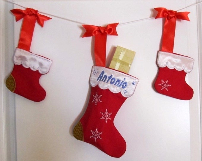 Christmas Stockings, Socks, Easy to make In The Hoop Machine Embroidery designs all done In-The-Hoop, for hoop 4x4 and 5x7  INSTANT DOWNLOAD