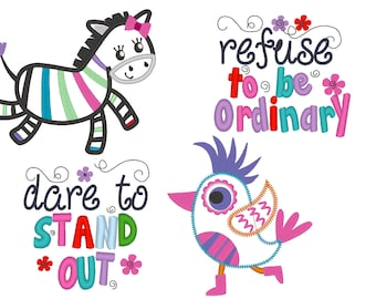 Refuse to be ordinary and  Dare to stand out Rainbow zebra and bird collection designs - machine embroidery applique designs 4x4, 5x7