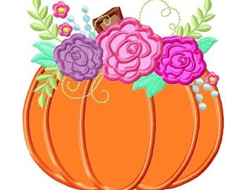 Floral Pumpkin Applique Design ~ Fall Pumpkin  Autumn pumpkin with shabby chick roses flowers crown applique machine embroidery designs