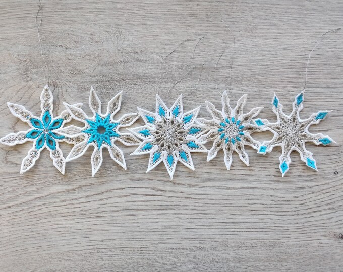Snowflake Freestanding lace embroidery designs, 5 types in assorted sizes  FSL, Free standing embroidery design