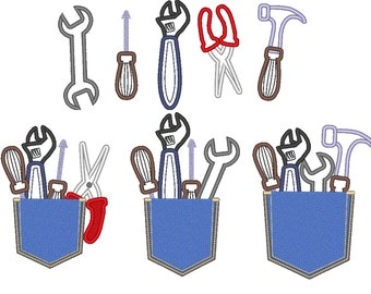 Cute real pocket with tools 3 types and tools 5 single files - set - machine embroidery applique design In-the-Hoop  INSTANT DOWNLOAD