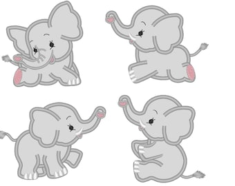 Little Elephants 4 types INSTANT DOWNLOAD  Machine Embroidery Designs, 3, 4 and 5 inches Elephant applique embroidery designs