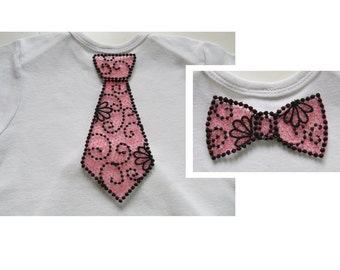 Lace little nerd or Geek boy bow tie and tie FSL, Free standing embroidery designs  4x4 and 5x7  water soluble stabilizer EMBROIDERY