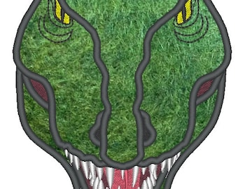 T-rex Dinosaur Face , machine embroidery applique and fil lstitch designs  INSTANT DOWNLOAD