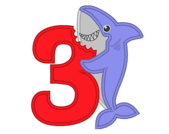 Baby Shark Birthday number 3 THREE bitten number kids boy Birthday outfit design machine embroidery applique designs for hoop 4x4, 5x7, 6x10
