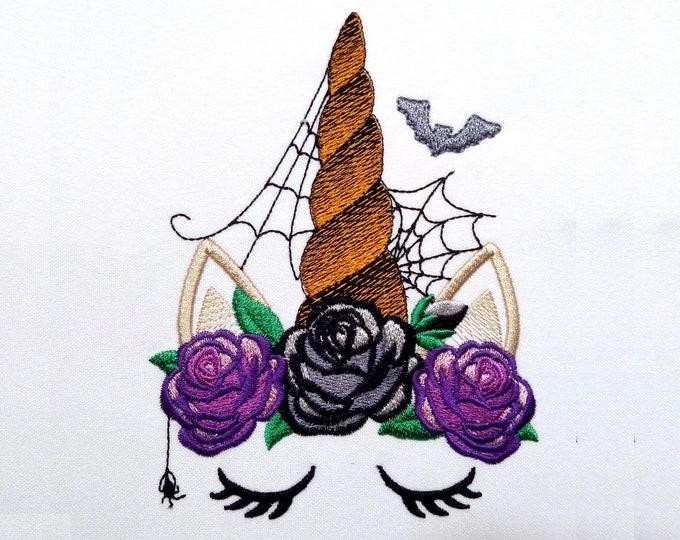 Halloween spider Unicorn head with shabby chick roses flowers crown applique machine embroidery designs Rainbow unicorn embroidery face fall