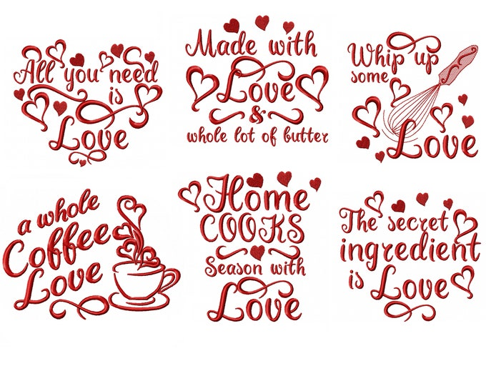 Kitchen towel designs with love SET of 6 designs - Kitchen cute quotes - machine embroidery designs - 4x4, 5x7  INSTANT DOWNLOAD