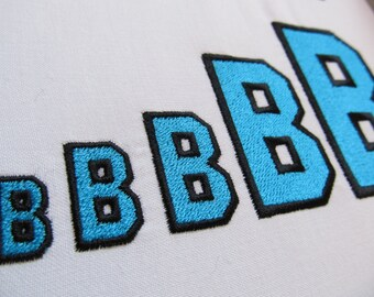 Varsity Collegiate, Collegiate type Font machine embroidery designs - capital letters and numbers, 2 colors, outline, fill stitch, BX