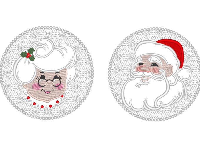 Embossed Terry Towel Mr. Santa Clause and Mrs. Clause circle designs collection machine embroidery designs 4x4 and 5x7, 6x10