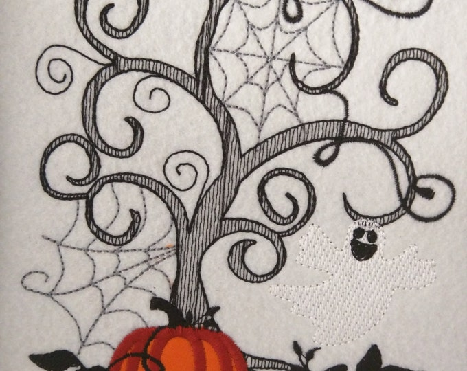 Halloween scene, sketch stitch embroidery designs  4x4, 5x7, 6x10 INSTANT DOWNLOAD