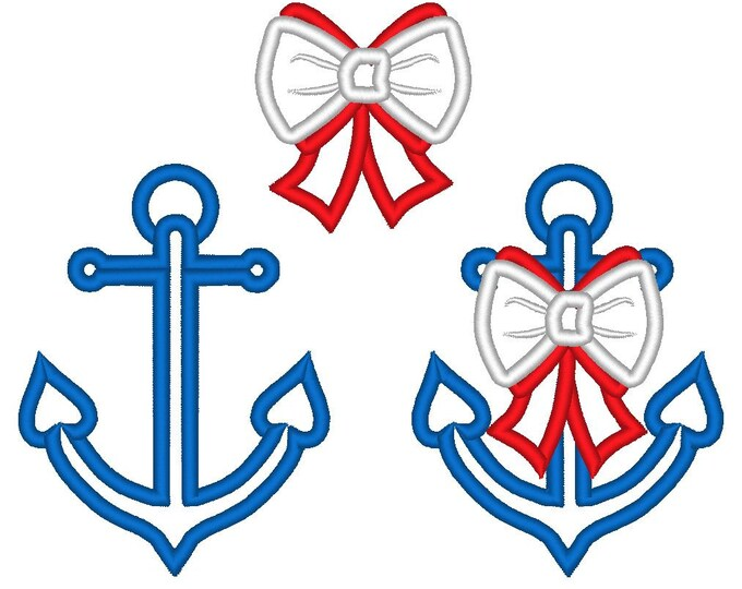 Cute set of anchor with bow and single, cute nautical embellishment - single files, machine applique designs 4x4, 5x7 INSTANT DOWNLOAD