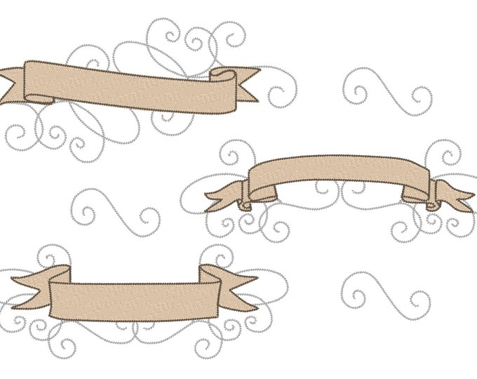 Banners swirl for birthday, nametags, pillows, gifts and other monogramming - machine embroidery designs INSTANT DOWNLOAD