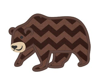 Forest Bear Applique Design Machine Embroidery grizzly Design INSTANT DOWNLOAD  wild and free, grizzly applique, 4x4, 5x7 and 6x10