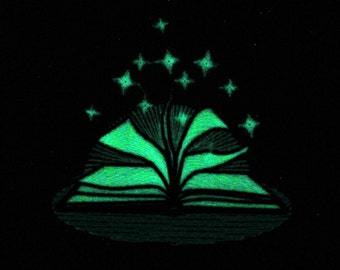 Fairytale book / Glow in the dark special designed machine embroidery / sizes 4x4 and 5x7 / file  Unique, first, one of kind Book of Shadows