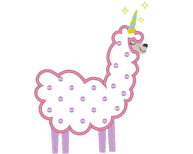 Llamacorn applique corn llama unicorn rainbow machine embroidery applique designs assorted sizes 4x4, 5x7, 6x10